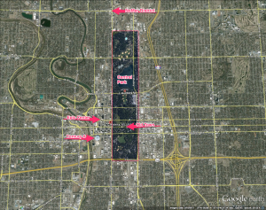 Central Park superimposed on Wichita, Kansas.